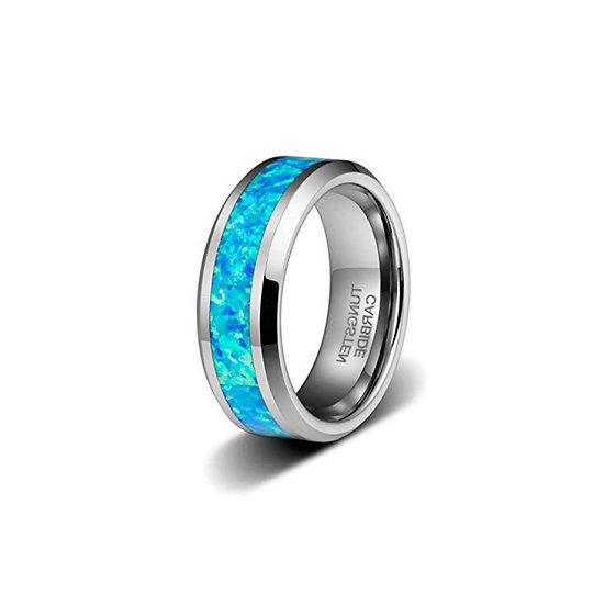 Cremation Jewelry - Ring - Tungsten - Blue