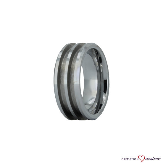 Tungsten Double Channel Ring Blank - 8mm