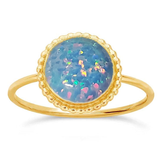 Cremation Opal Ring Yellow Gold 8mm Round