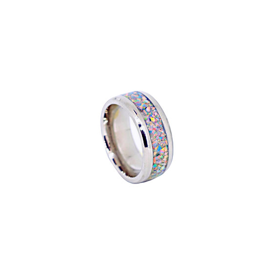 Cremation Jewelry - Ring - Royal Blue Gray Opal  OP 77