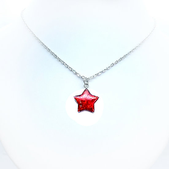 Cremation Opal Pendant Star with Free Engraving