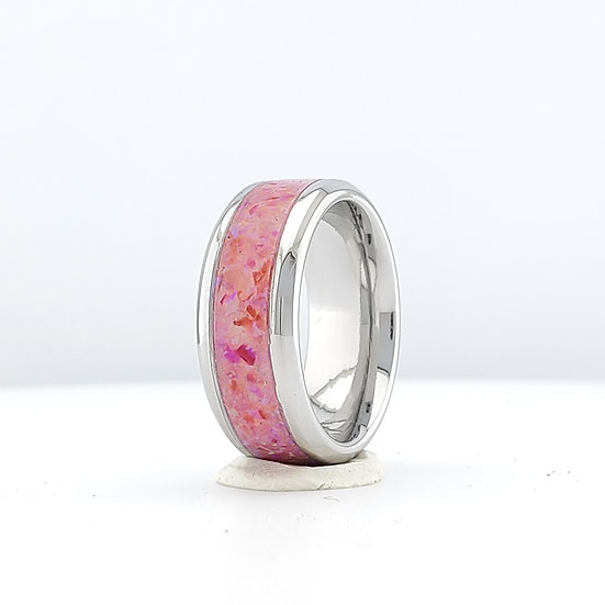 Cremation Jewelry - Ring - Mexican Pink Opal  OP 59