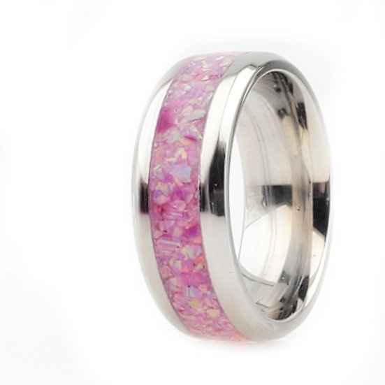 Cremation Jewelry - Rings - Rose Pink Opal OP 22