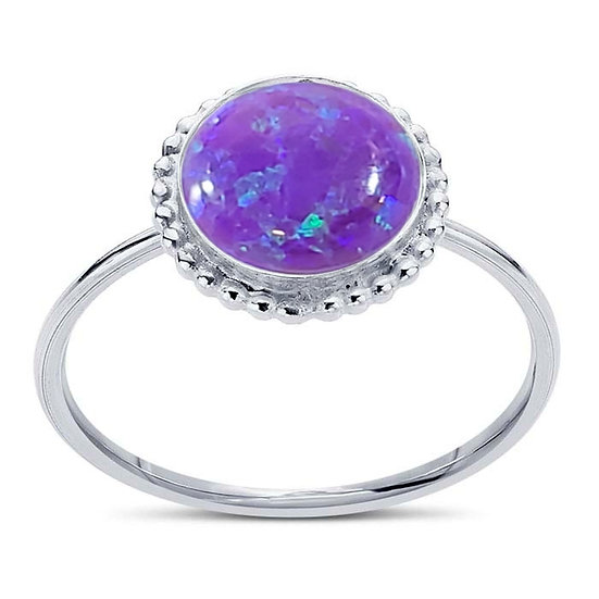 Elegant Round Opal Ring Sterling Silver 8mm