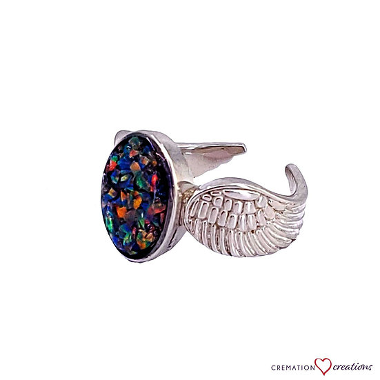 Cremation Winged Oval Opal Ring Silver