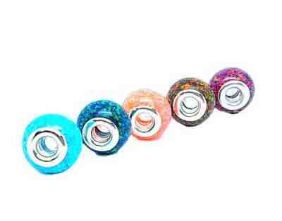European cremation ash beads in  opal with colors blue pink red and brown