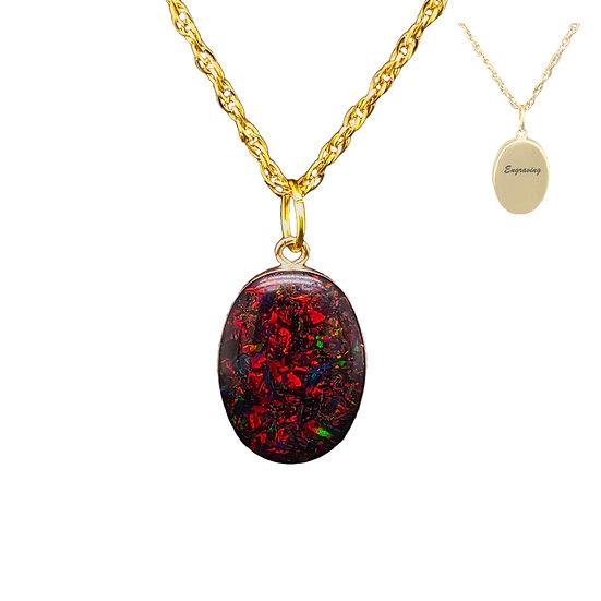 Cremation Pendant  14K Gold Inlaid With Opal And Ashes