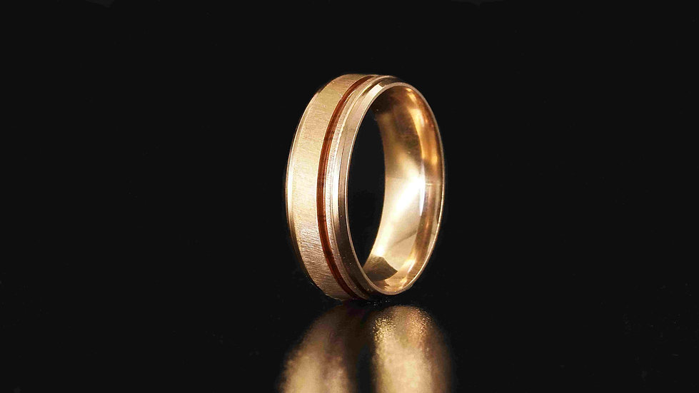 Stainless Steel Rose Gold Plated Ring with offset wood inlay