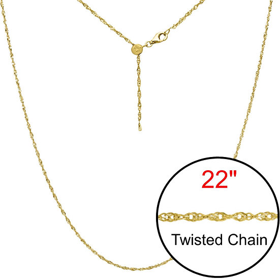 Twist Adjustable Designer Gold  Chain Jewelry 22""