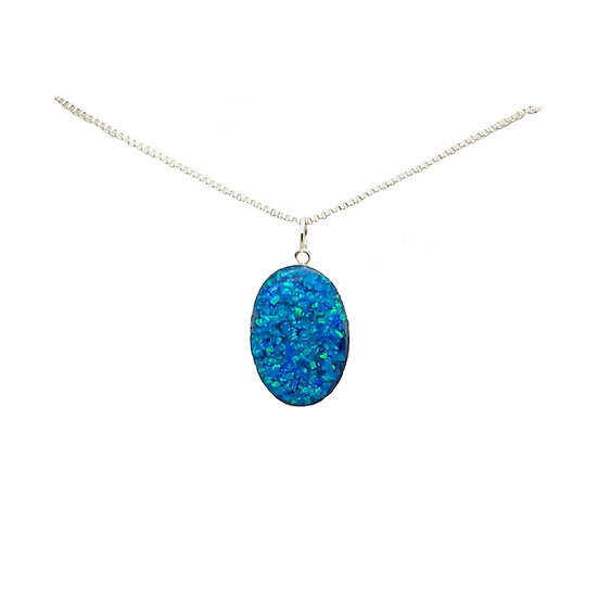 Cremation Oval Pendant 925 Sterling Silver And Crushed Opal