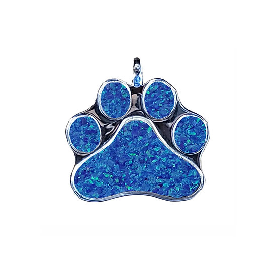 Cremation Paw Print Pendant Sterling Silver Inlaid W/ Opal