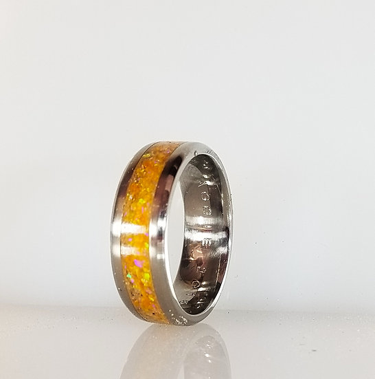 Cremation Jewelry - Ring - Amber Opal  OP 67