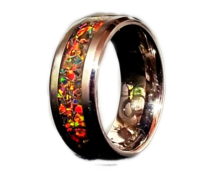 Cremation Jewelry - Ring - Black Opal #4  OP 34