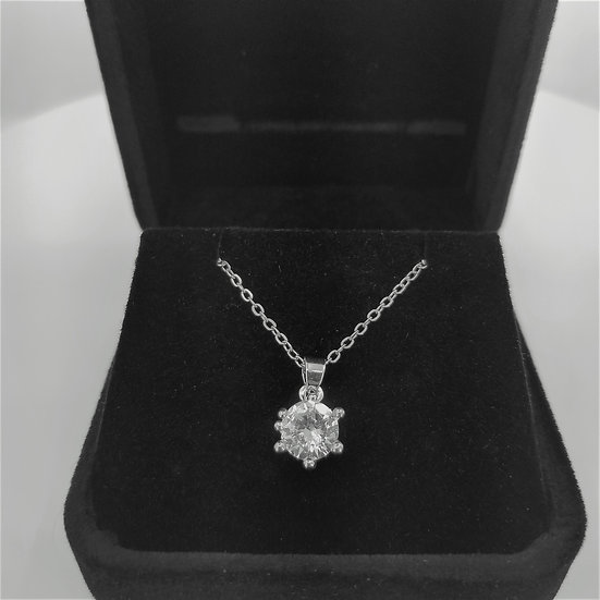Solitaire Pendant with CZ and chain