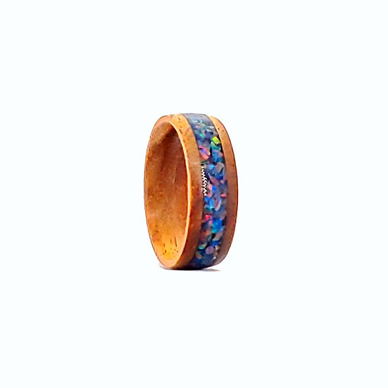 Cremation Ring Space Blue OP29 Koa Wood