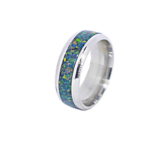 Cremation jewelry - Ring - Black opal 5 OP35
