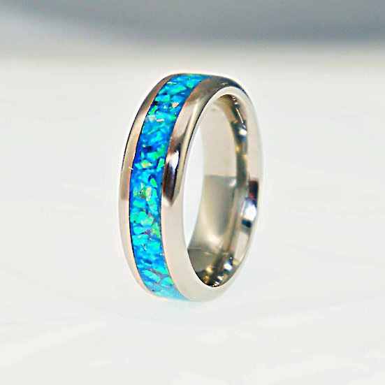 Cremation Jewelry - Ring - Light Turquoise Blue Opal  OP 73