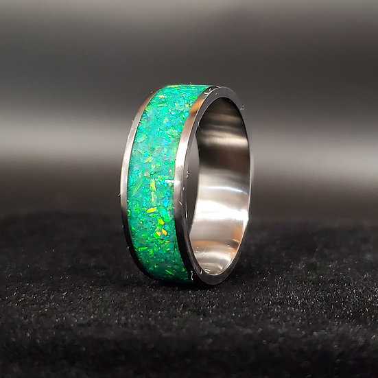 Cremation Jewelry - Ring - Kiwi Opal OP 11