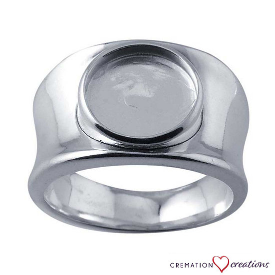 Sterling Silver Concave Band Round Cabochon Ring Mountings