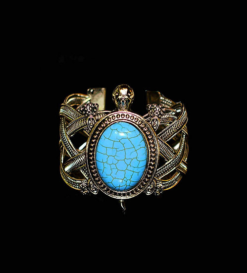 Silver-plated Turtle bangle with turquoise
