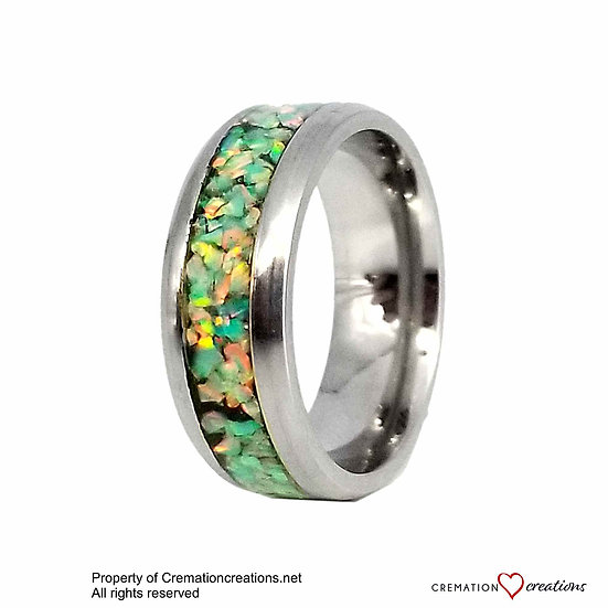 Cremation Jewelry - Ring - Spring Garden Opal  OP 69