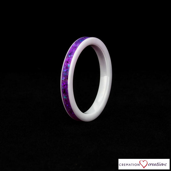 Thin and Dainty Cremation Ring - 3mm - white ceramic