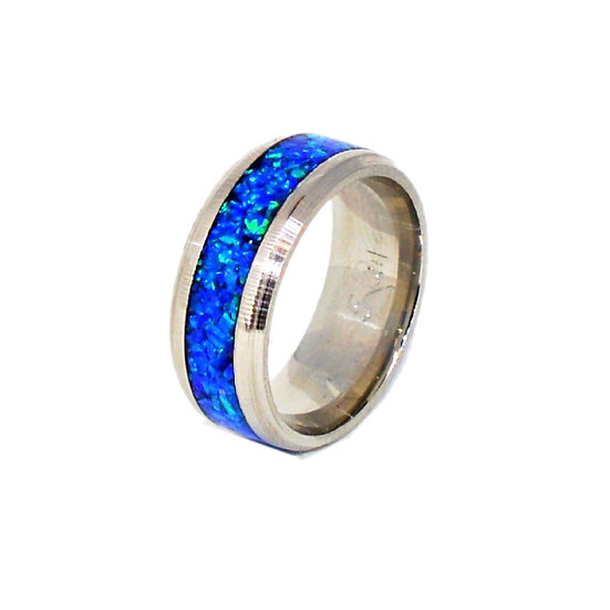 Cremation Jewelry - Ring - Sleepy Blue Opal  OP 50