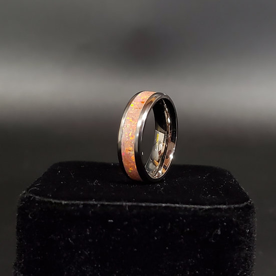 Cremation Jewelry - Ring - Salmon Pink Opal OP 24