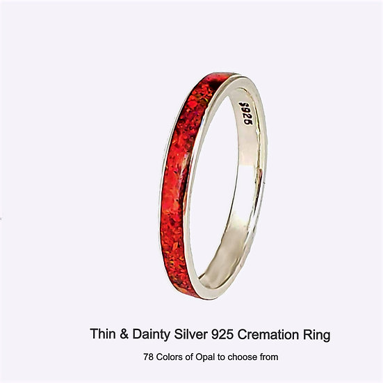 Cremation Ring - Silver - Thin and Dainty