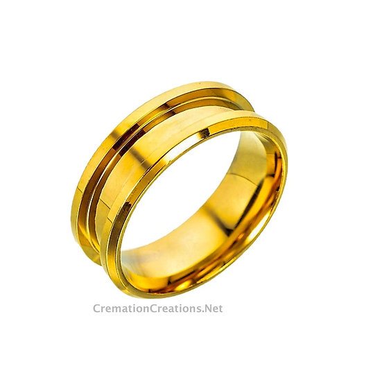 gold stainless steel blank ring for inlay 8mm width