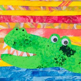 Crocodile Collage Canvas