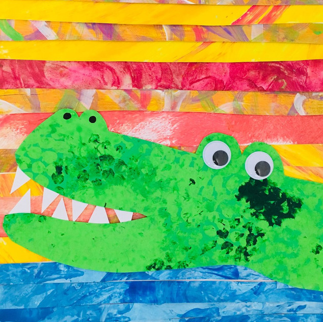 Crocodile Collage Canvas