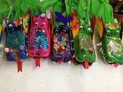 Dragon egg carton puppets
