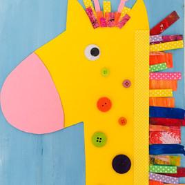 Giraffe Collage Canvas