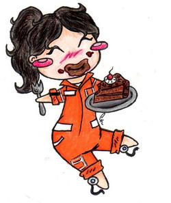 chell with cake