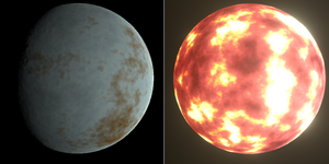 An icy planet and a molten planet.