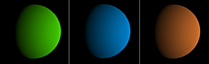 A green, blue, and brownish planet.