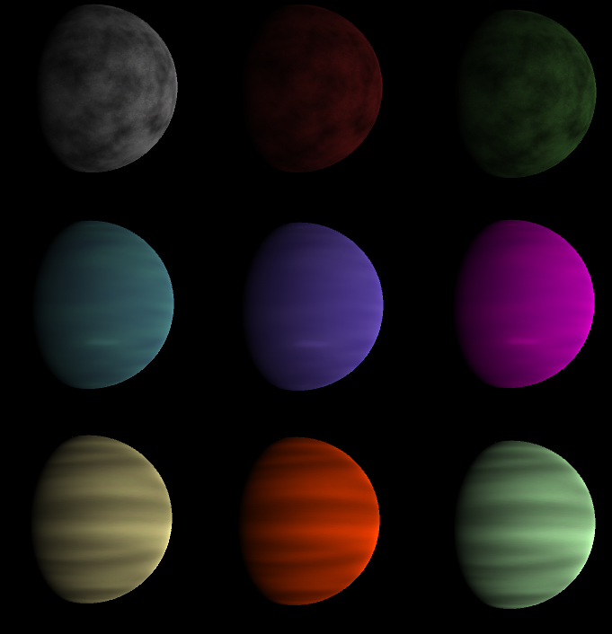 Three sets of three different colors for a planet type.