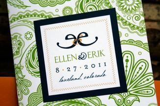 Wedding invitation, front cover.