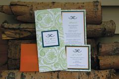 Wedding Invitation Suite – Invite, info card, RSVP card and orange glassine envelope.