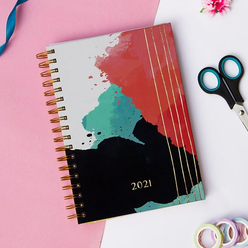 Planner 2021(Abstract) with Personalized Birthday Month Theme & Bookmark