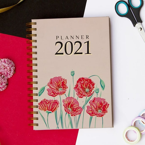 Planner 2021(Floral) with Personalized Birthday Month Theme & Bookmark