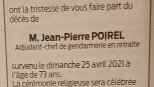 Décès de Monsieur Jean-Pierre POIREL adhérent UNPRG
