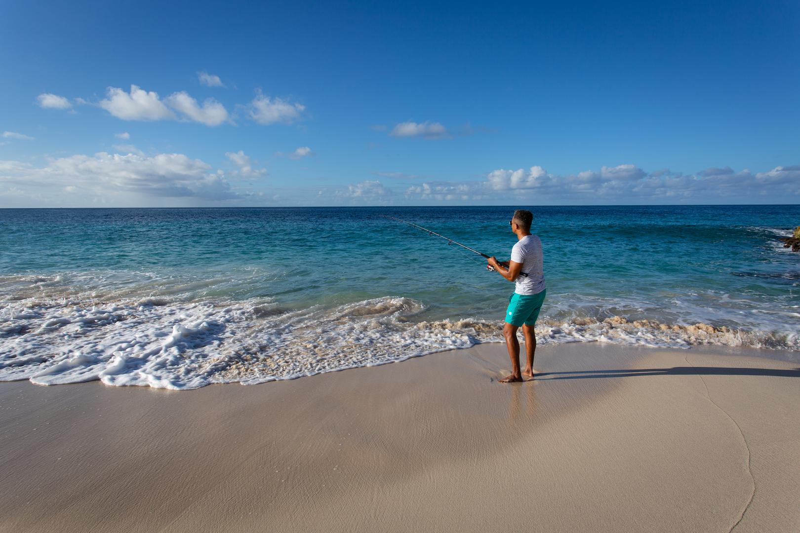 Man Fishing on Limestone Bay