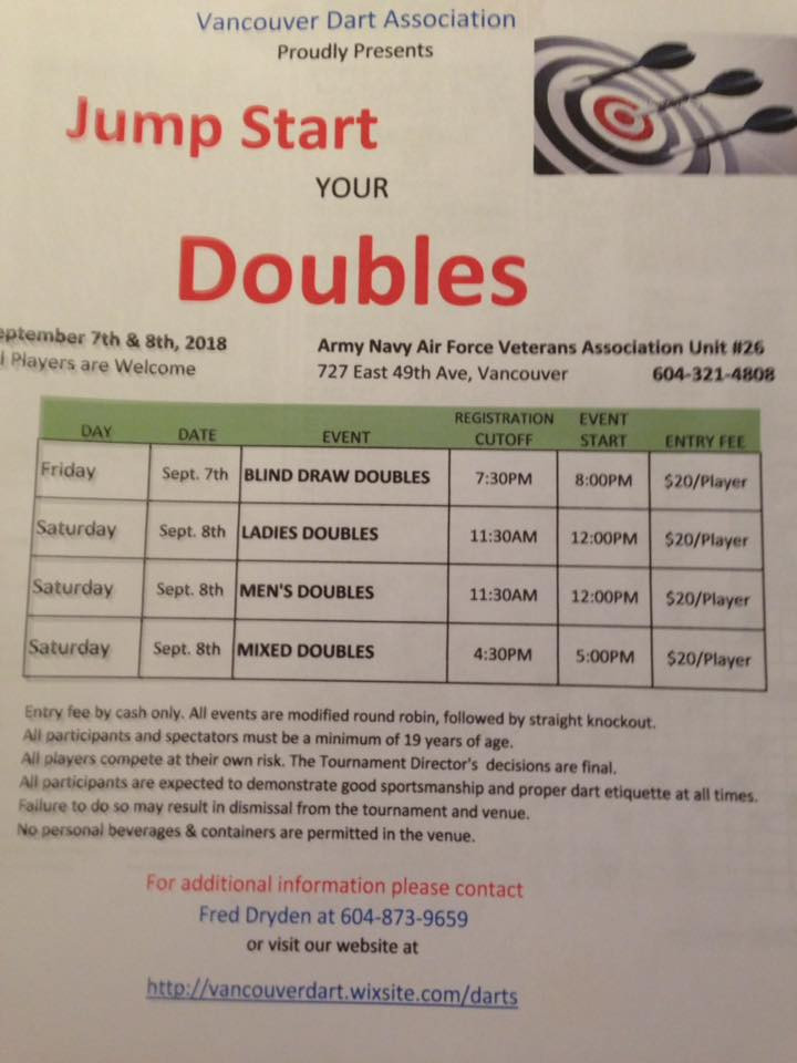 The VDA proudly presents Jump Start Your Doubles   Come on out for some doubles fun! Friday Sept. 8th and Saturday Sept. 9  - 2018! Blind Draw Doubles, Ladies Doubles, Mens Doubles, Mixed Doubles.\ Tournament held at ANAF 727 East 49th at Fraser Street. For more information contact Fred Dryden 604-873-9659
