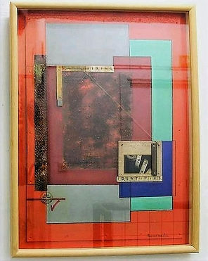 """""""Mixing Identities"""" Mix media, seventies journal prints, and deteriorated metal textures with objects fixed on wood. 60Wcmx78Hcm framed with glass incorporating."""