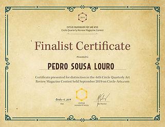 """Awarded """"Finalist Certificate"""""""