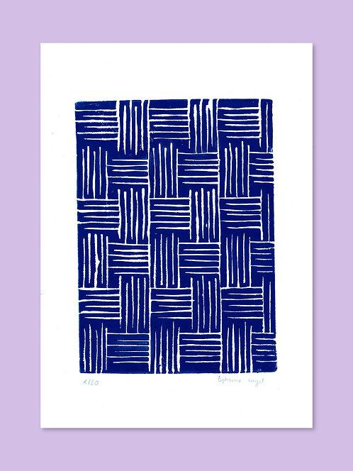 Linogravure bleu - Fait mains