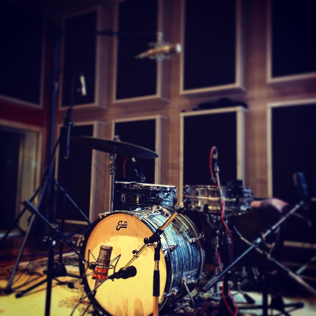 In the studio.