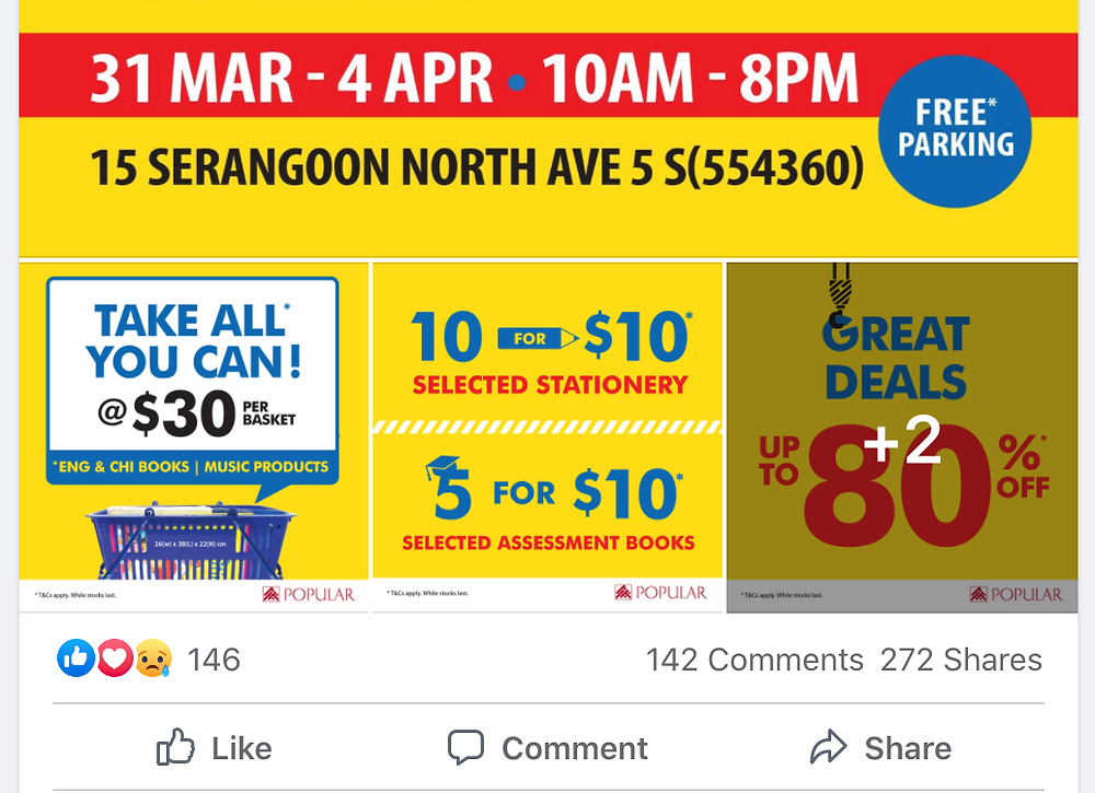 engagements from popular warehouse sale facebook post
